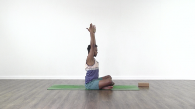 Easy pose yoga arms in urdhva hastasana