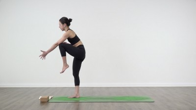 Knee to triceps yoga position