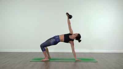 wheel yoga with kettlebell