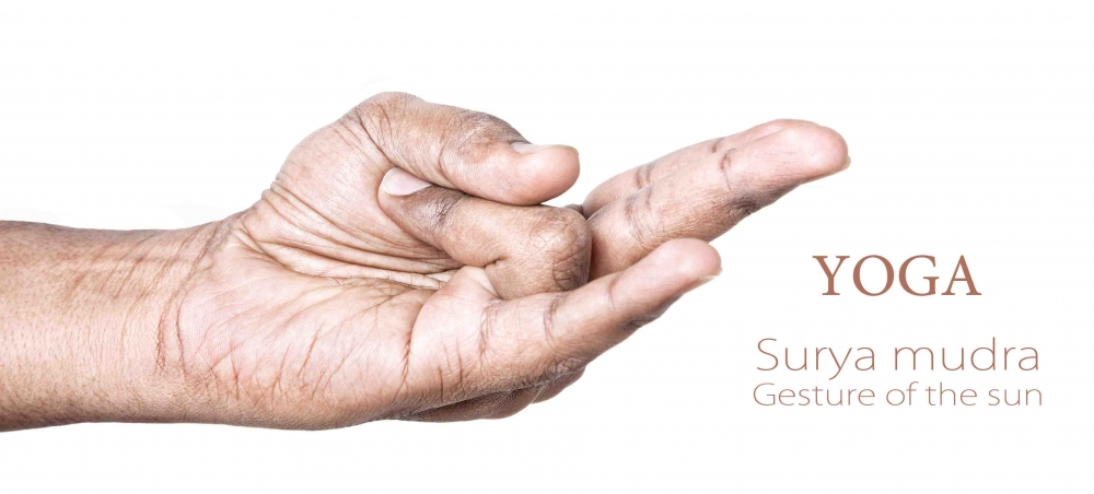 Surya mudra, gesture of the sun hand mudra