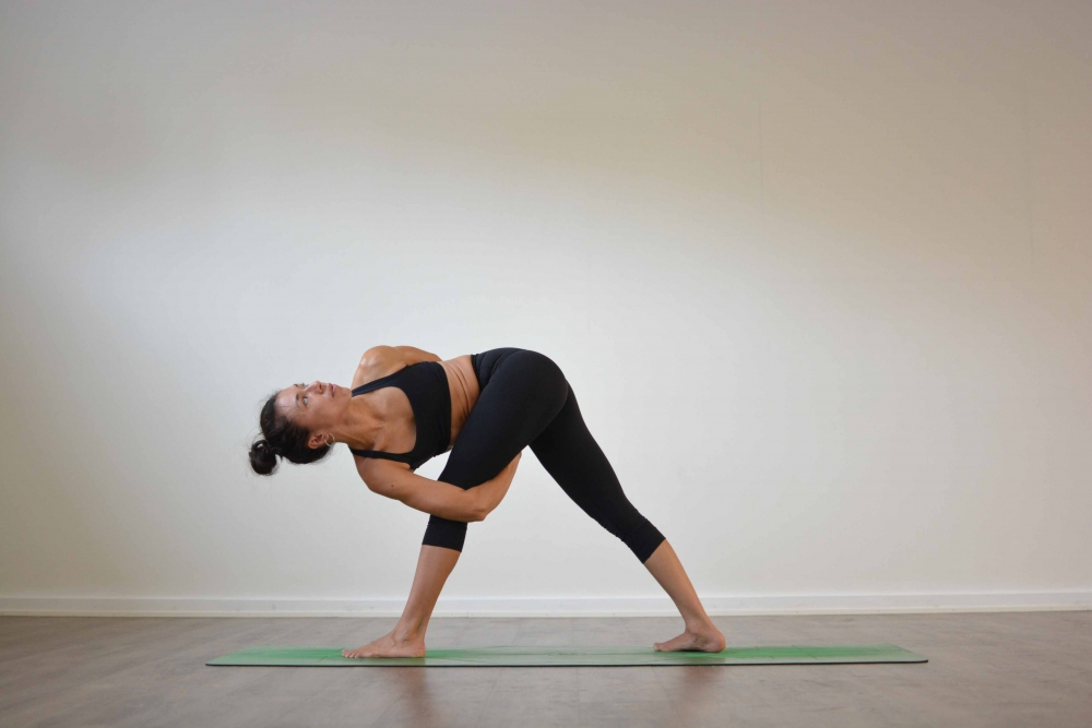 Bound Revolved Triangle Pose