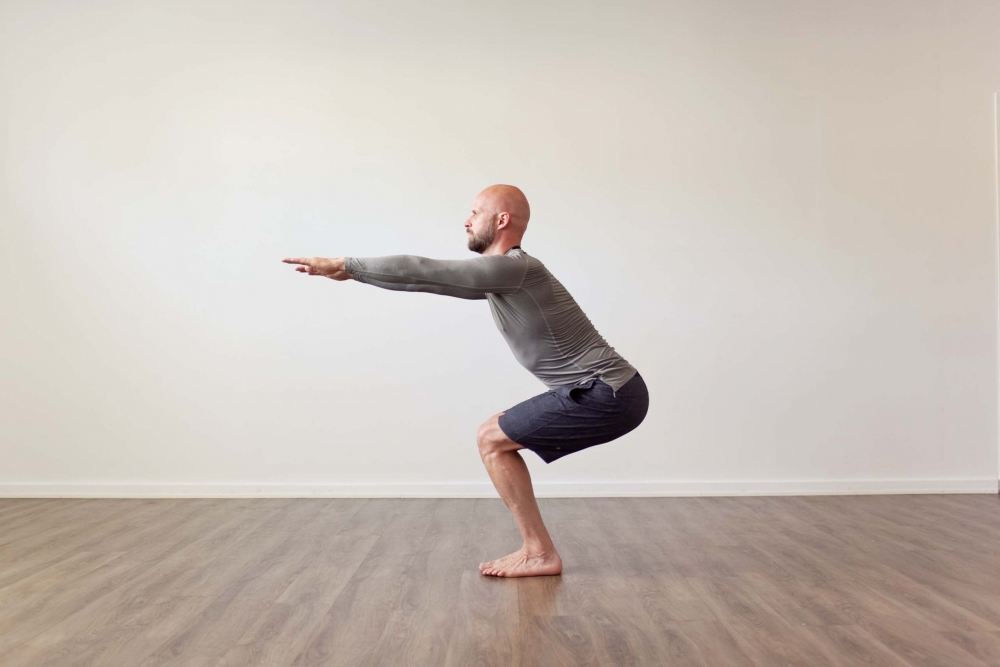 Utkatasana Bikram first part